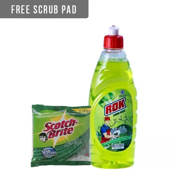 Rok Lemon Dish Washing Liquid (500 ml) (Free Scotch Brite Pad 7X7.5)