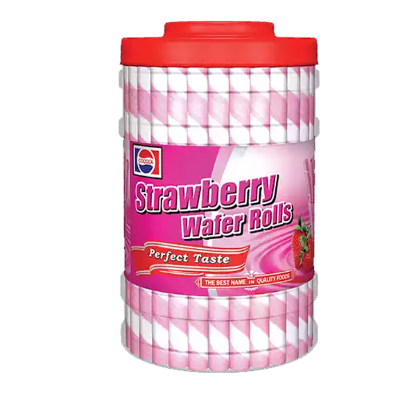 Cocola Strawberry Wafer Roll Jar  (280 gm)