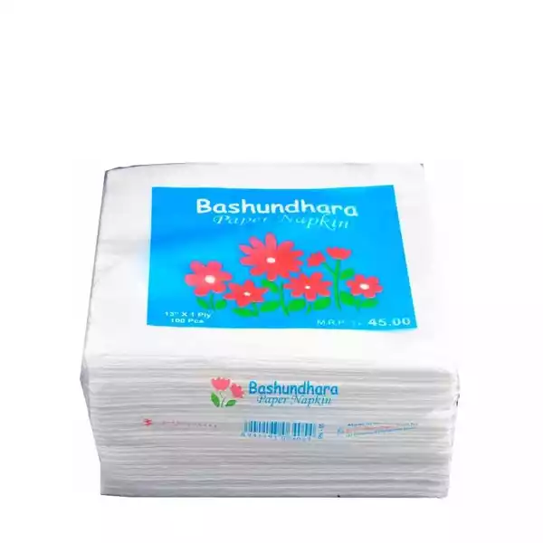 "Bashundhara Paper Napkins 13"" Unscented (100 pcs)"