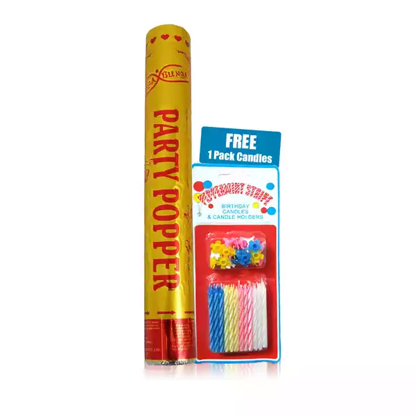 Party Popper (No Fire Work) China 1 pcs (Free 1 Pack Candles)
