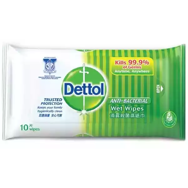 Dettol Anti Bacterial Wet Wipes 10 pcs
