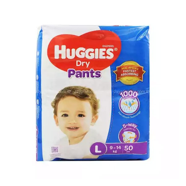 Huggies Dry Pants Baby Diaper Pant L 9-14 kg (50pcs)