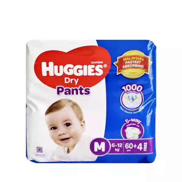 Huggies Dry Pants Baby Diaper Pant M 6-12 kg (60pcs)