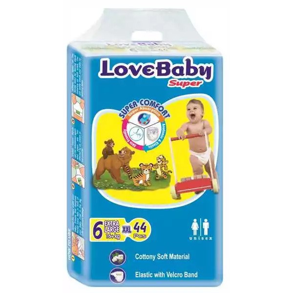Love Baby Super Diaper 6 XXL Belt 16 kg+ (44pcs)