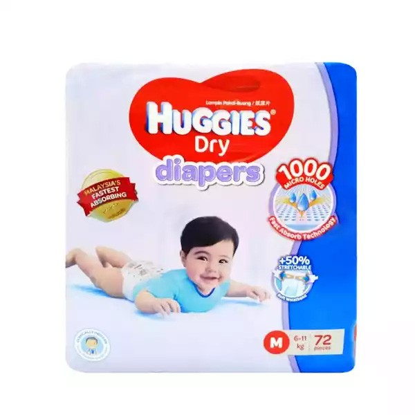 Huggies Dry Baby Diaper Belt M 6-11 kg (72pcs)