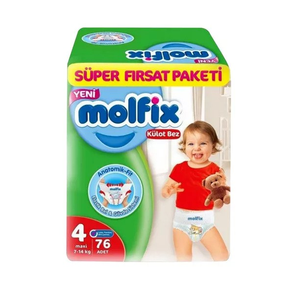Molfix Baby Diaper Pants Super Pack Maxi 9-14 kg (76pcs)