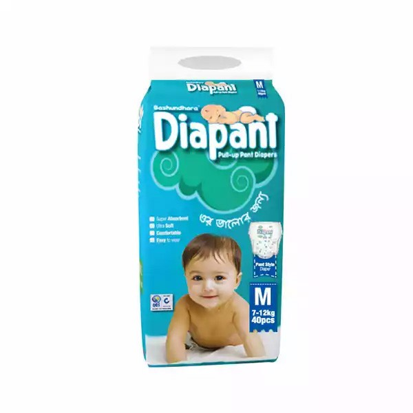 Bashundhara Diapant Baby Diaper M 7-12 kg (40pcs)