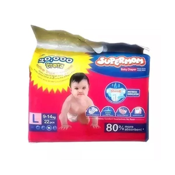 SUPERMOM Baby Diaper Belt L 9-14 kg (22pcs)