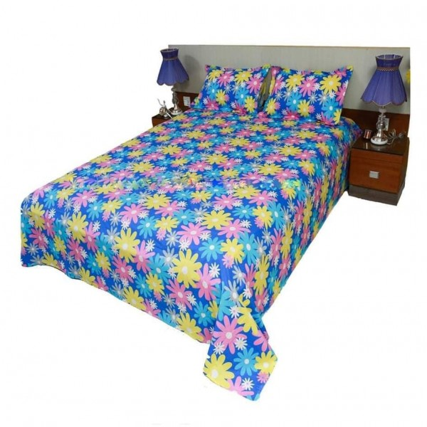 King Size Cotton Bed Sheet With Matching 2 Pillow Covers - Multicolor - Bd0010