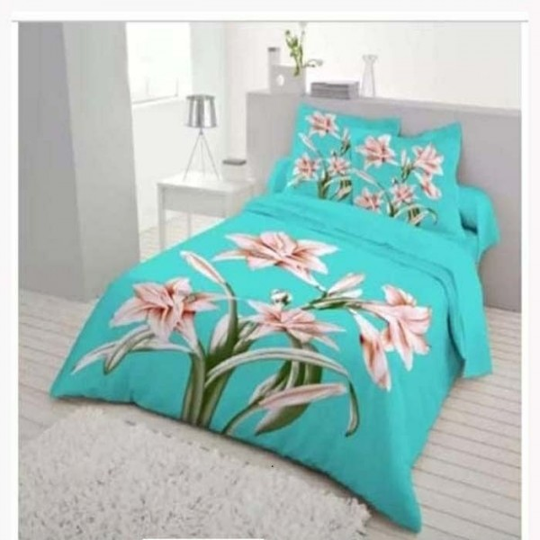 Double Size Panel Cotton Bed Sheet With 2 Pillow Covers - Multicolor - Bds0044