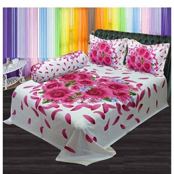 Double Size Panel Cotton Bed Sheet With 2 Pillow Covers - Multicolor - Bds0054