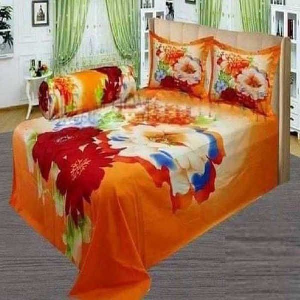 Double Size Panel Cotton Bed Sheet With 2 Pillow Covers - Multicolor - Bds0055