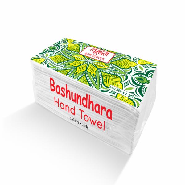 Bashundhara Hand Towel (White) - 150 pcs X 1 ply